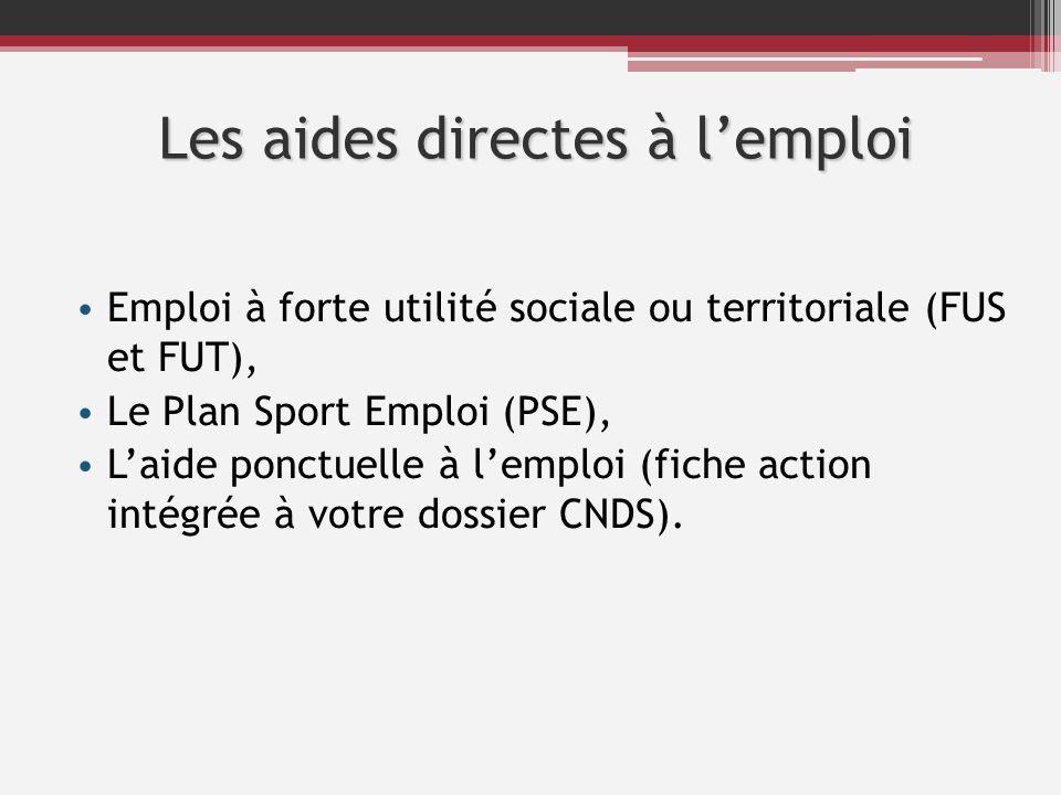 Les aides directes à lemploi Emploi à forte utilité sociale ou territoriale (FUS et FUT), Le Plan Sport Emploi (PSE), Laide ponctuelle à lemploi (fich