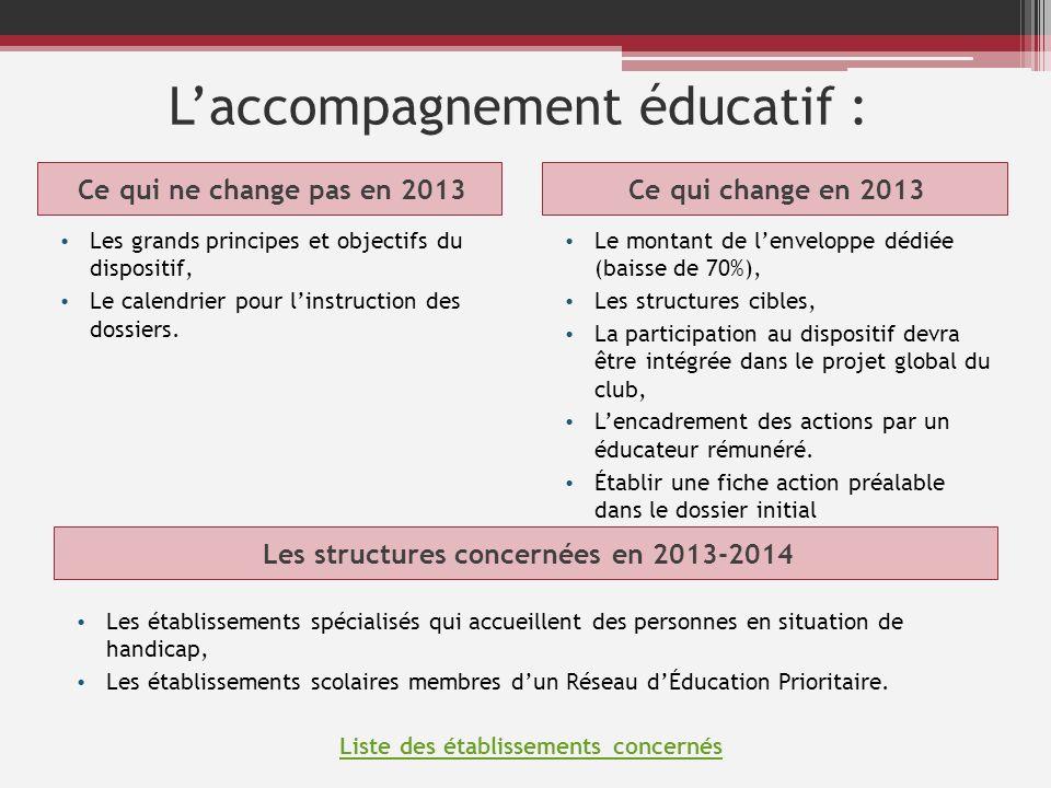 Laccompagnement éducatif : Ce qui ne change pas en 2013Ce qui change en 2013 Les grands principes et objectifs du dispositif, Le calendrier pour linst