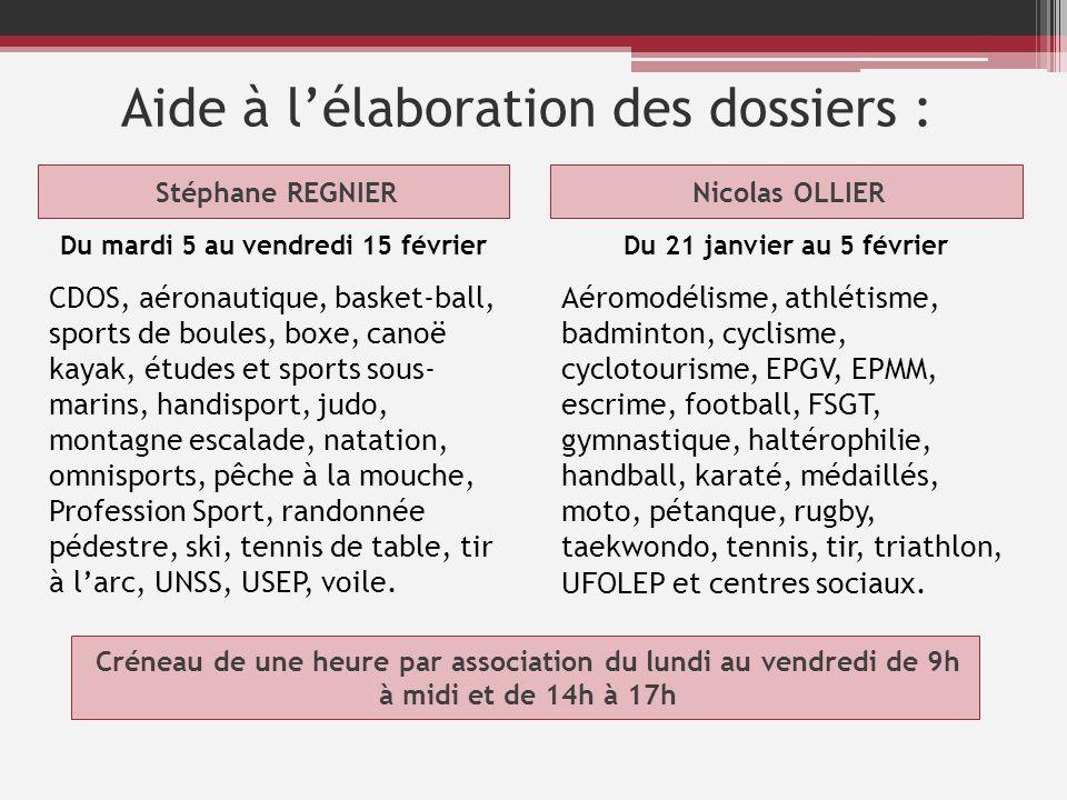 Aide à lélaboration des dossiers : Stéphane REGNIERNicolas OLLIER Du mardi 5 au vendredi 15 février CDOS, aéronautique, basket-ball, sports de boules,