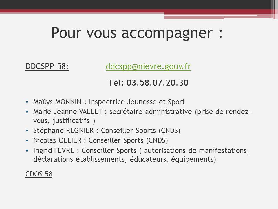 Pour vous accompagner : DDCSPP 58: ddcspp@nievre.gouv.frddcspp@nievre.gouv.fr Tél: 03.58.07.20.30 Maïlys MONNIN : Inspectrice Jeunesse et Sport Marie