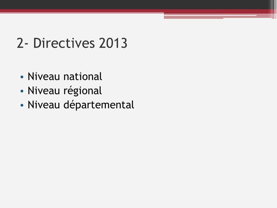 2- Directives 2013 Niveau national Niveau régional Niveau départemental