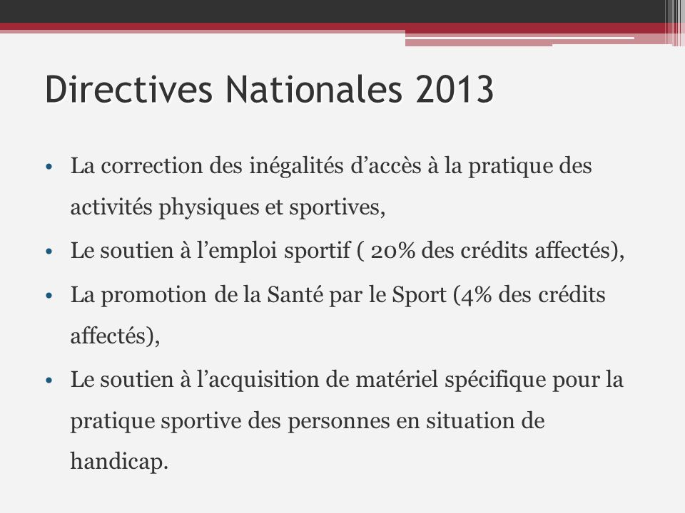 Crédits du CNDS national -6,5%