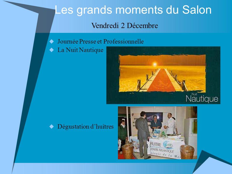 Journée Presse et Professionnelle La Nuit Nautique Dégustation dhuîtres Les grands moments du Salon Vendredi 2 Décembre
