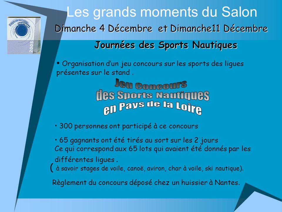 Journées des Sports Nautiques Les grands moments du Salon Dimanche 4 Décembre et Dimanche11 Décembre Organisation dun jeu concours sur les sports des ligues présentes sur le stand.