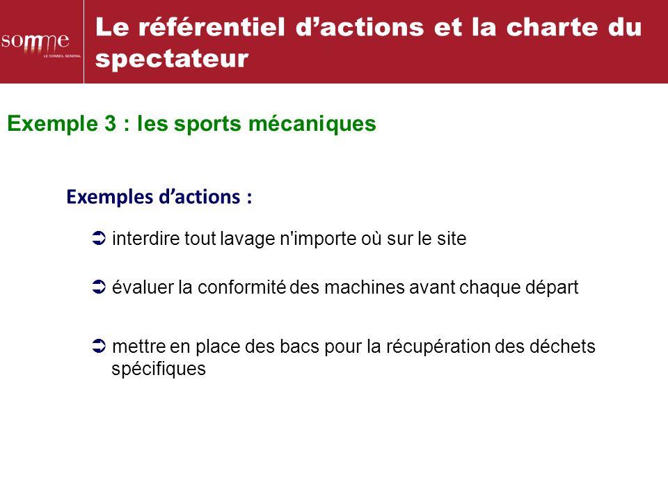 Le référentiel dactions et la charte du spectateur Exemples dactions : évaluer la conformité des machines avant chaque départ interdire tout lavage n'