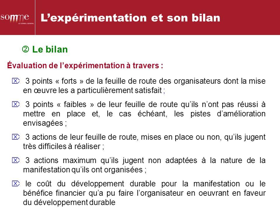 Lexpérimentation et son bilan Le bilan Évaluation de lexpérimentation à travers : 3 points « forts » de la feuille de route des organisateurs dont la