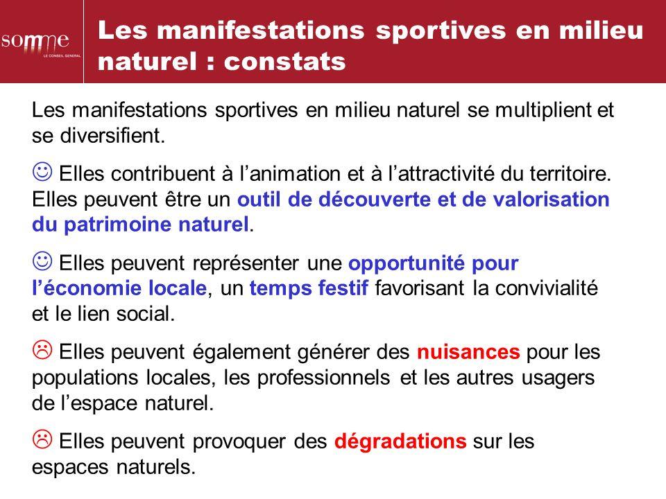 Les manifestations sportives en milieu naturel : constats Les manifestations sportives en milieu naturel se multiplient et se diversifient. Elles cont