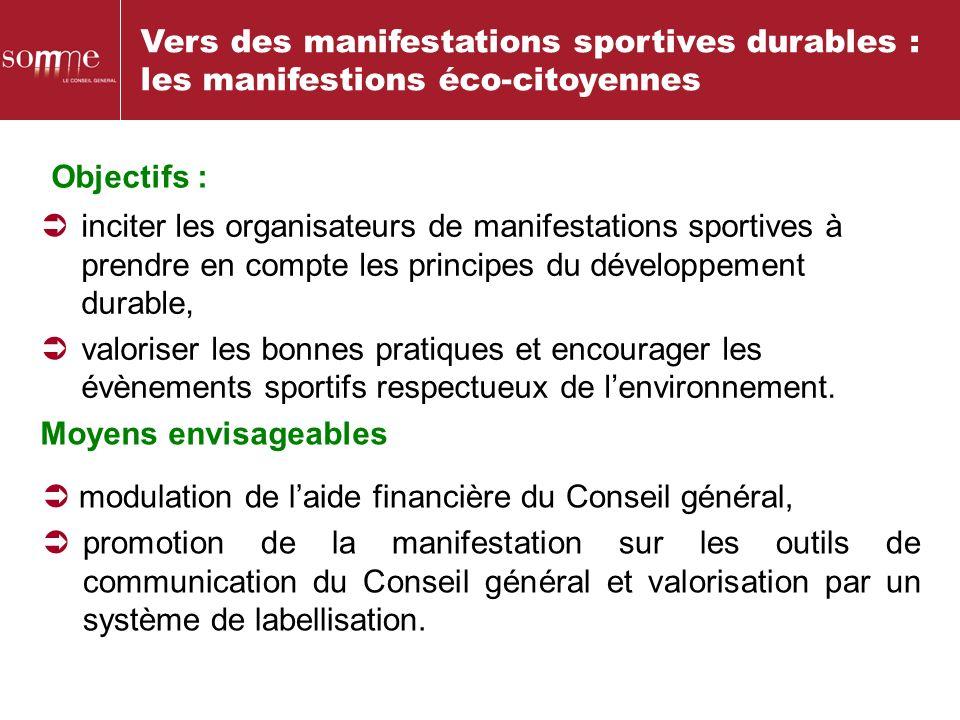 Vers des manifestations sportives durables : les manifestions éco-citoyennes Objectifs : inciter les organisateurs de manifestations sportives à prend