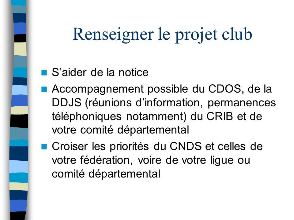 Renseigner le projet club Saider de la notice Accompagnement possible du CDOS, de la DDJS (réunions dinformation, permanences téléphoniques notamment) du CRIB et de votre comité départemental Croiser les priorités du CNDS et celles de votre fédération, voire de votre ligue ou comité départemental