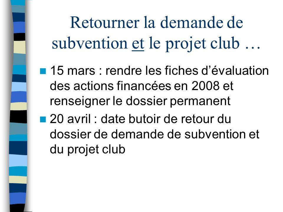 Retourner la demande de subvention et le projet club … 15 mars : rendre les fiches dévaluation des actions financées en 2008 et renseigner le dossier permanent 20 avril : date butoir de retour du dossier de demande de subvention et du projet club