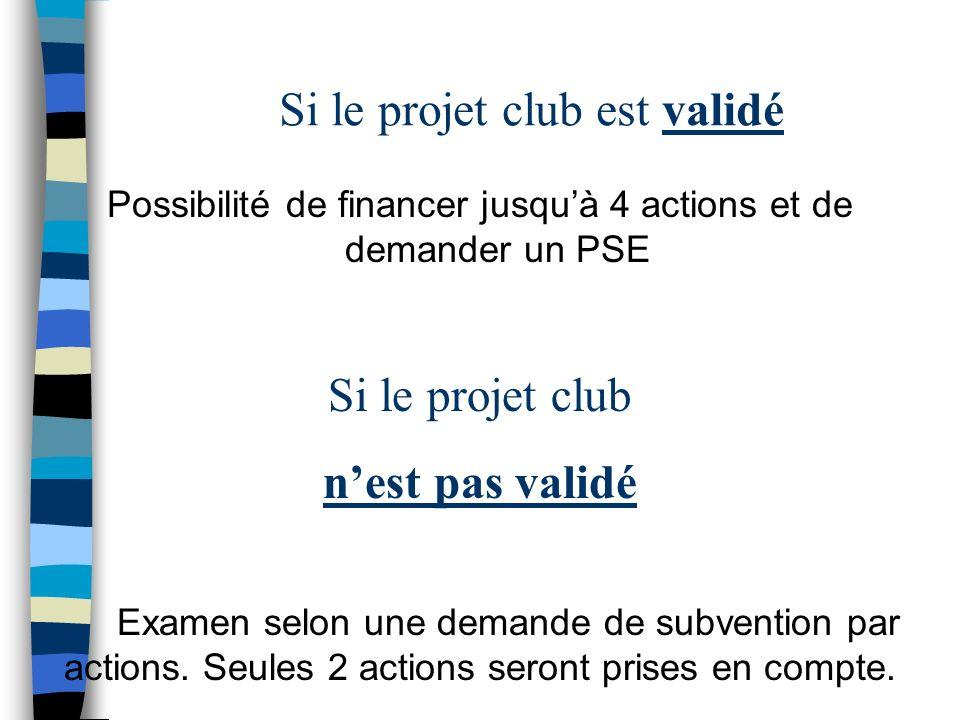 Si le projet club est validé Possibilité de financer jusquà 4 actions et de demander un PSE Si le projet club nest pas validé Examen selon une demande de subvention par actions.