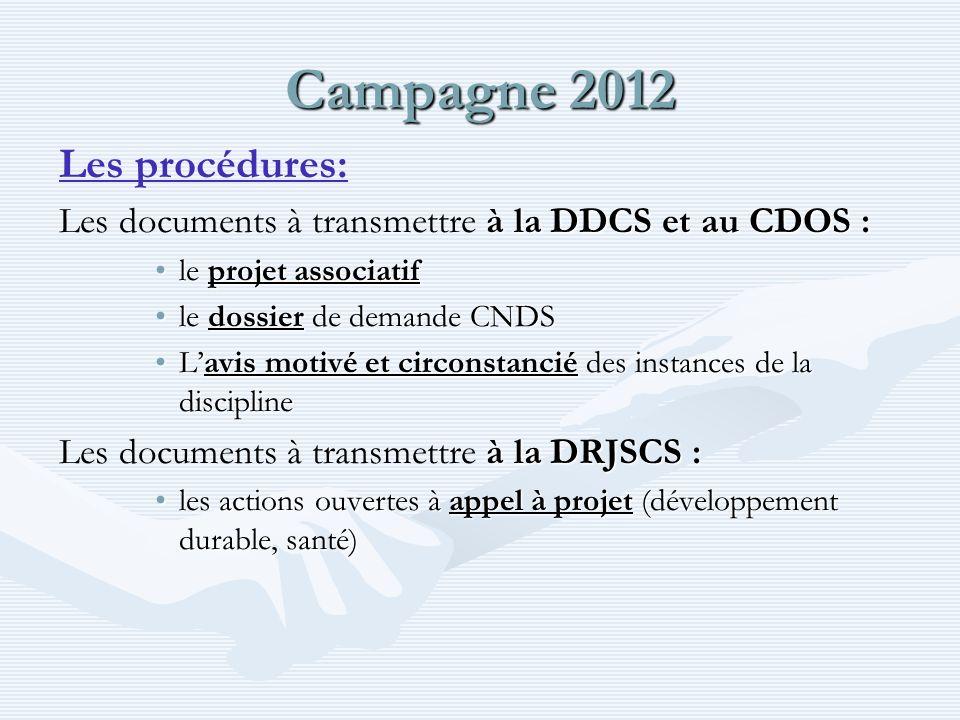 Campagne 2012 Les procédures: à la DDCS et au CDOS : Les documents à transmettre à la DDCS et au CDOS : le projet associatifle projet associatif le dossier de demande CNDSle dossier de demande CNDS Lavis motivé et circonstancié des instances de la disciplineLavis motivé et circonstancié des instances de la discipline à la DRJSCS : Les documents à transmettre à la DRJSCS : les actions ouvertes à appel à projet (développement durable, santé)les actions ouvertes à appel à projet (développement durable, santé)