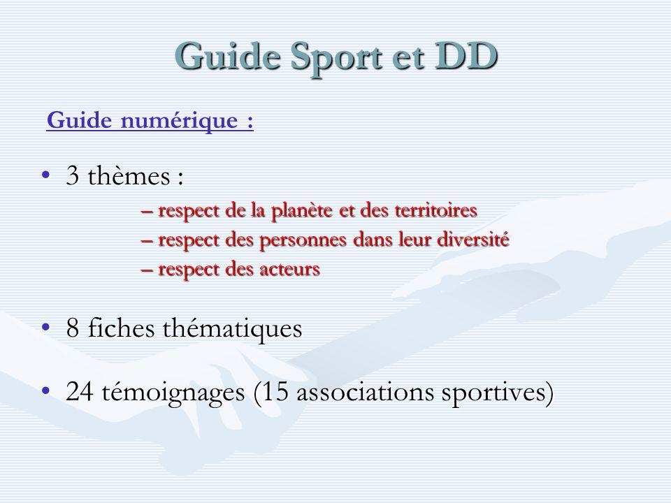 Guide Sport et DD 3 thèmes :3 thèmes : –respect de la planète et des territoires –respect des personnes dans leur diversité –respect des acteurs 8 fiches thématiques8 fiches thématiques 24 témoignages (15 associations sportives)24 témoignages (15 associations sportives) Guide numérique :