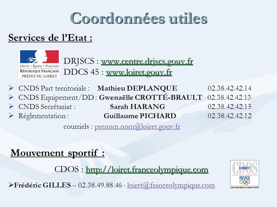 Coordonnées utiles DRJSCS : www.centre.drjscs.gouv.fr www.loiret.gouv.fr DDCS 45 : www.loiret.gouv.fr CNDS Part territoriale : Mathieu DEPLANQUE 02.38.42.42.14 CNDS Equipement/DD : Gwenaëlle CROTTÉ-BRAULT 02.38.42.42.13 CNDS Secrétariat : Sarah HARANG 02.38.42.42.15 Règlementation : Guillaume PICHARD 02.38.42.42.12 courriels : prenom.nom@loiret.gouv.frprenom.nom@loiret.gouv.fr Services de lEtat : http://loiret.franceolympique.com CDOS : http://loiret.franceolympique.com Frédéric GILLES – 02.38.49.88.46 - loiret@franceolympique.comloiret@franceolympique.com Mouvement sportif :