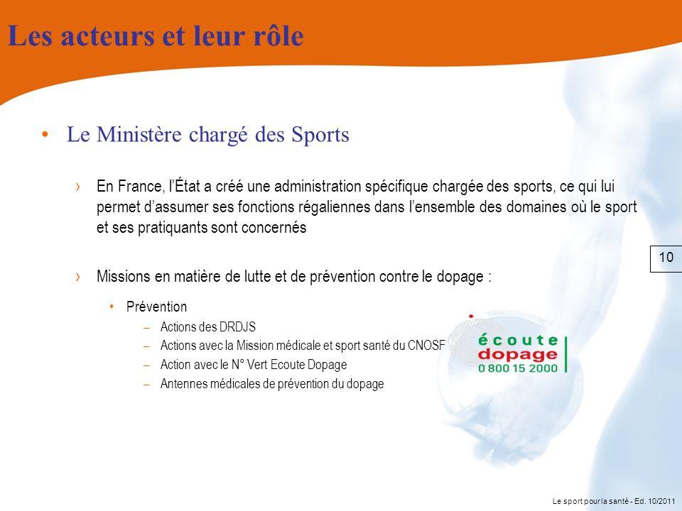 Le sport pour la santé - Ed. 10/2011 Les acteurs et leur rôle Le Ministère chargé des Sports En France, lÉtat a créé une administration spécifique cha