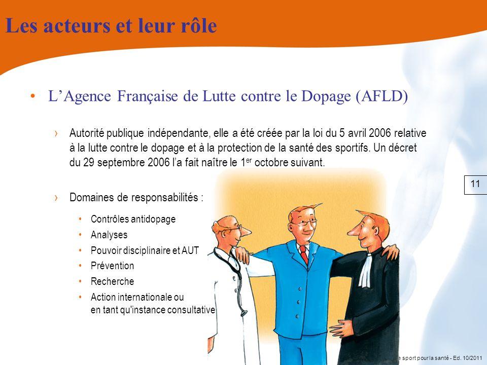 Le sport pour la santé - Ed. 10/2011 Les acteurs et leur rôle LAgence Française de Lutte contre le Dopage (AFLD) Autorité publique indépendante, elle