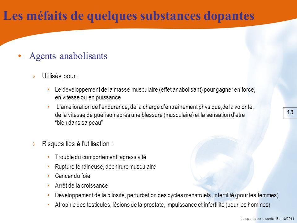 Le sport pour la santé - Ed. 10/2011 Les méfaits de quelques substances dopantes Agents anabolisants Utilisés pour : Le développement de la masse musc