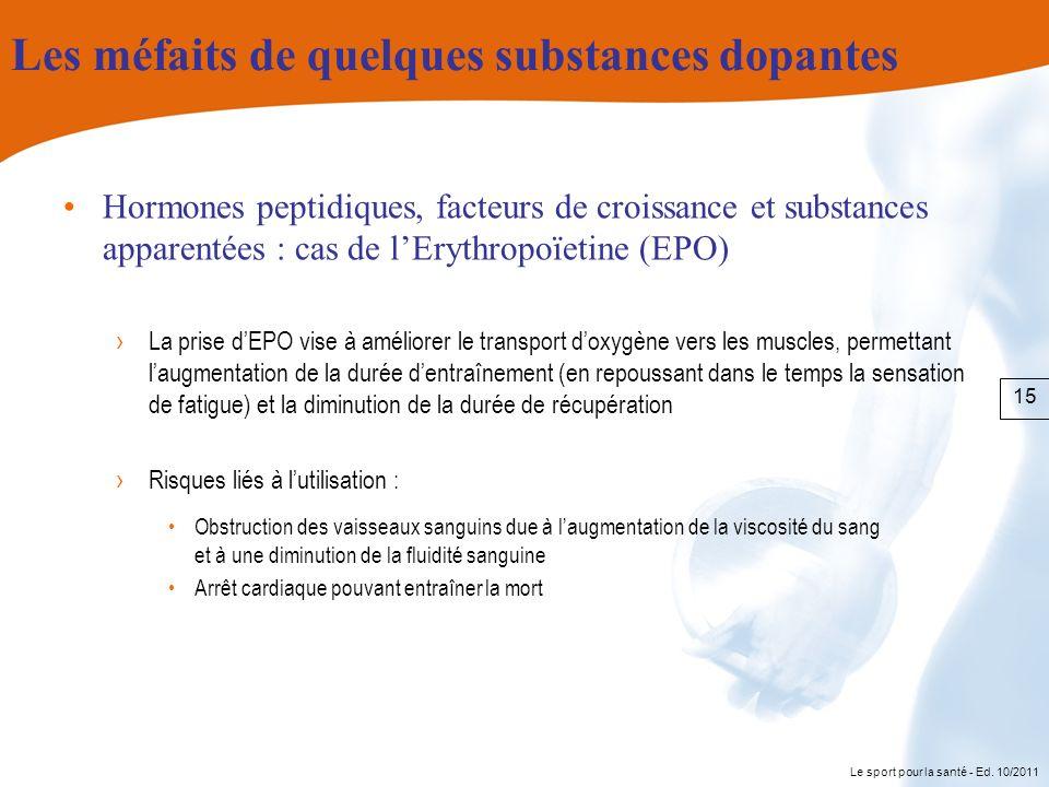 Le sport pour la santé - Ed. 10/2011 Les méfaits de quelques substances dopantes Hormones peptidiques, facteurs de croissance et substances apparentée