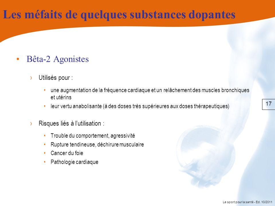 Le sport pour la santé - Ed. 10/2011 Les méfaits de quelques substances dopantes Bêta-2 Agonistes Utilisés pour : une augmentation de la fréquence car