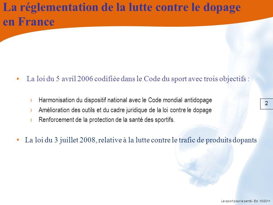 Le sport pour la santé - Ed. 10/2011 La réglementation de la lutte contre le dopage en France La loi du 5 avril 2006 codifiée dans le Code du sport av