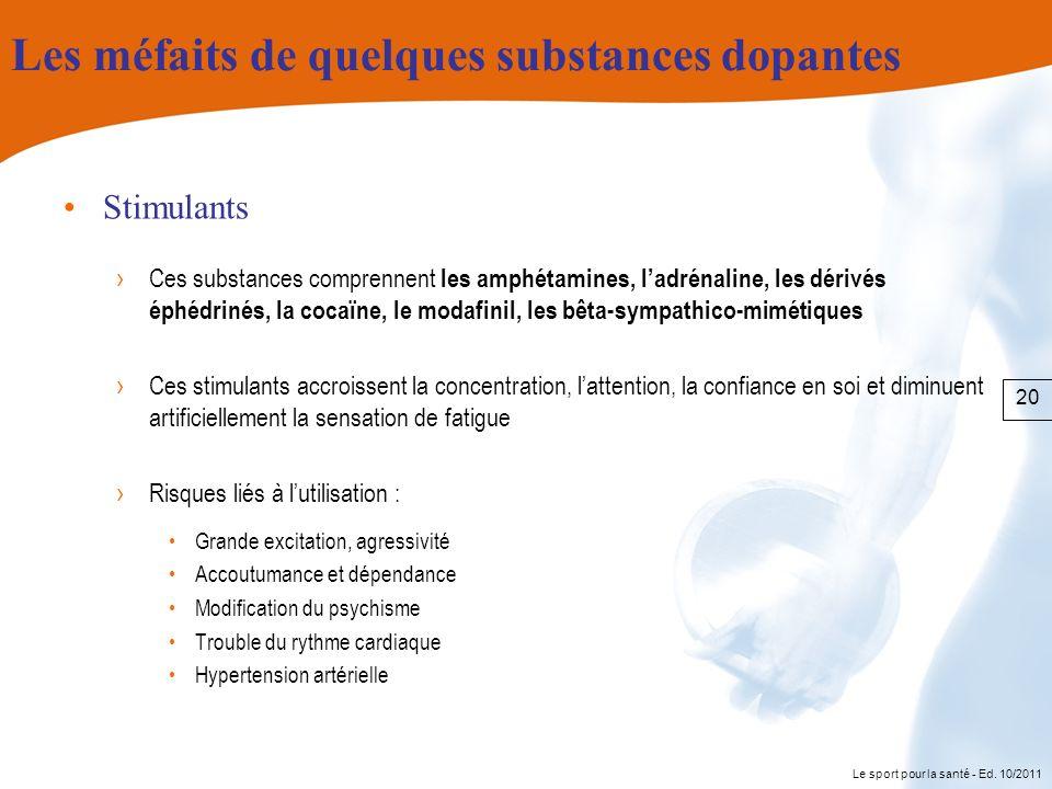 Le sport pour la santé - Ed. 10/2011 Les méfaits de quelques substances dopantes Stimulants Ces substances comprennent les amphétamines, ladrénaline,