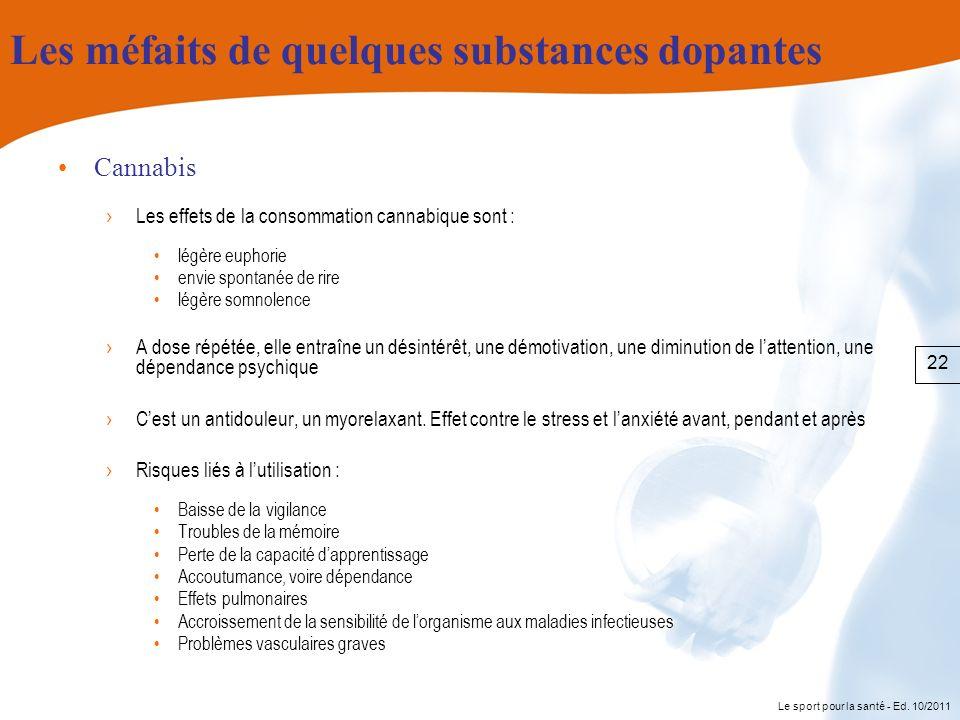 Le sport pour la santé - Ed. 10/2011 Les méfaits de quelques substances dopantes Cannabis Les effets de la consommation cannabique sont : légère eupho