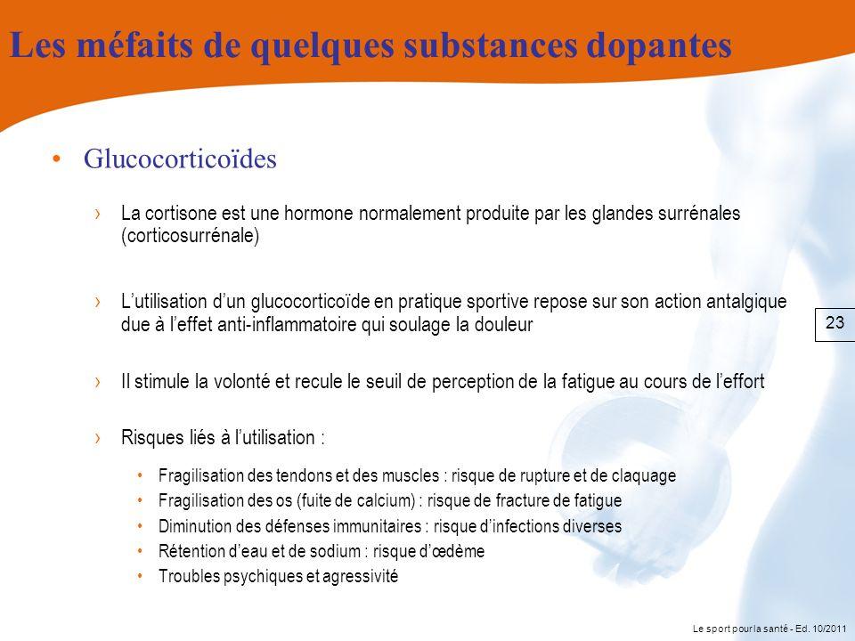 Le sport pour la santé - Ed. 10/2011 Les méfaits de quelques substances dopantes Glucocorticoïdes La cortisone est une hormone normalement produite pa