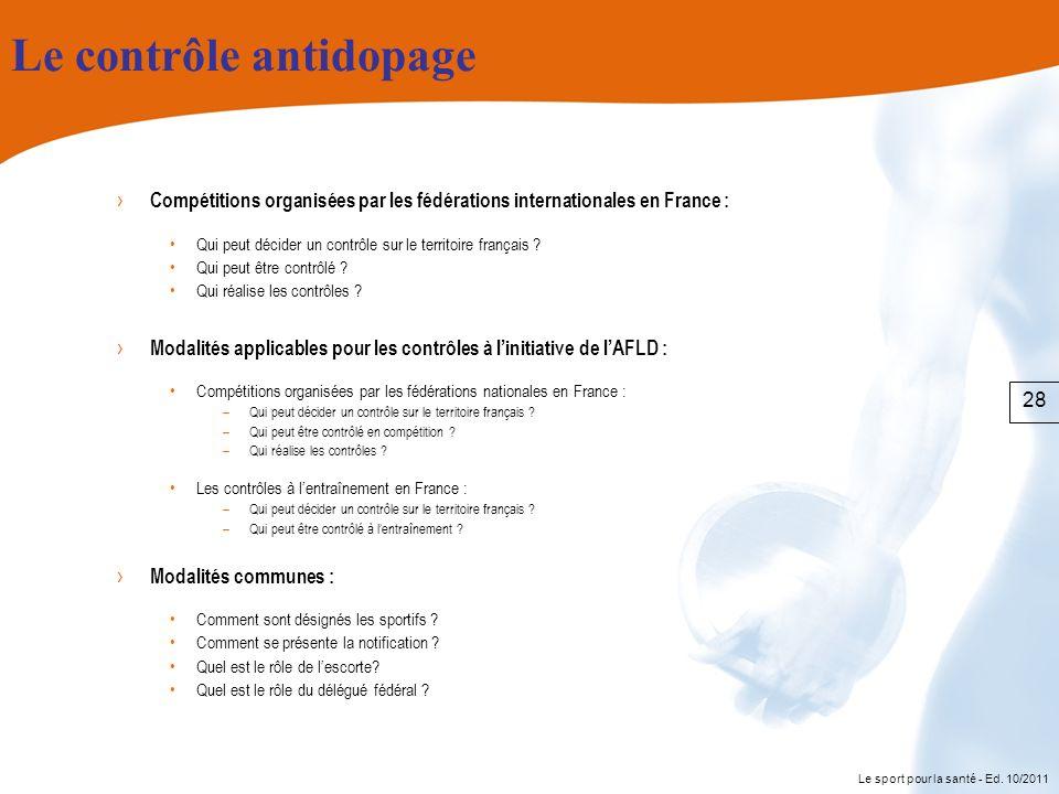 Le sport pour la santé - Ed. 10/2011 Le contrôle antidopage Compétitions organisées par les fédérations internationales en France : Qui peut décider u