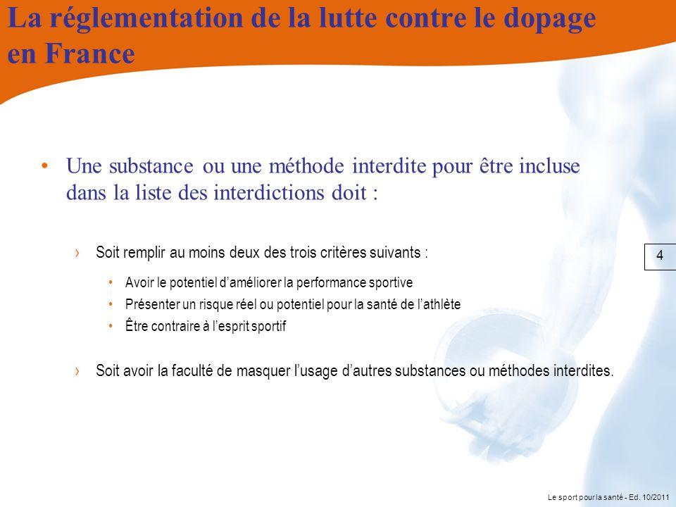 Le sport pour la santé - Ed. 10/2011 La réglementation de la lutte contre le dopage en France Une substance ou une méthode interdite pour être incluse