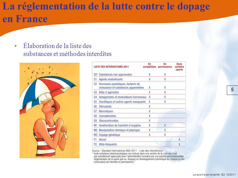 Le sport pour la santé - Ed. 10/2011 La réglementation de la lutte contre le dopage en France Élaboration de la liste des substances et méthodes inter