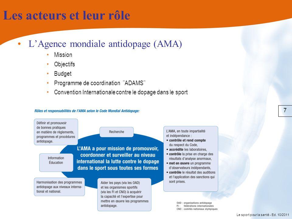 Le sport pour la santé - Ed. 10/2011 Les acteurs et leur rôle LAgence mondiale antidopage (AMA) Mission Objectifs Budget Programme de coordination ¨AD