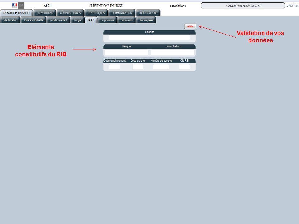 Eléments constitutifs du RIB Validation de vos données
