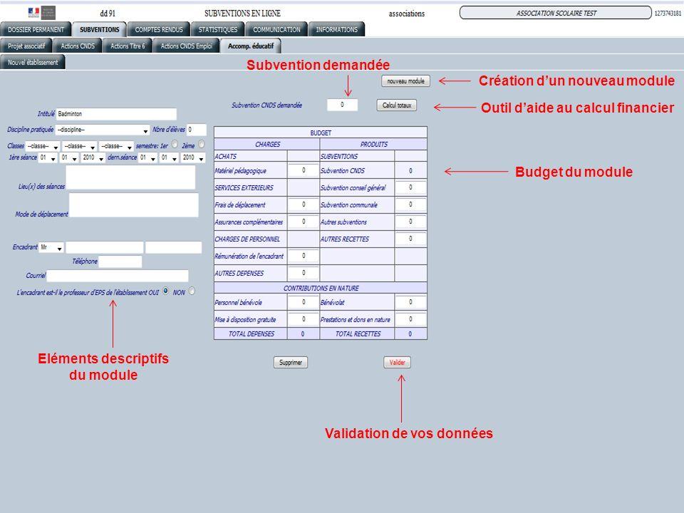 Eléments descriptifs du module Création dun nouveau module Subvention demandée Outil daide au calcul financier Budget du module Validation de vos donn