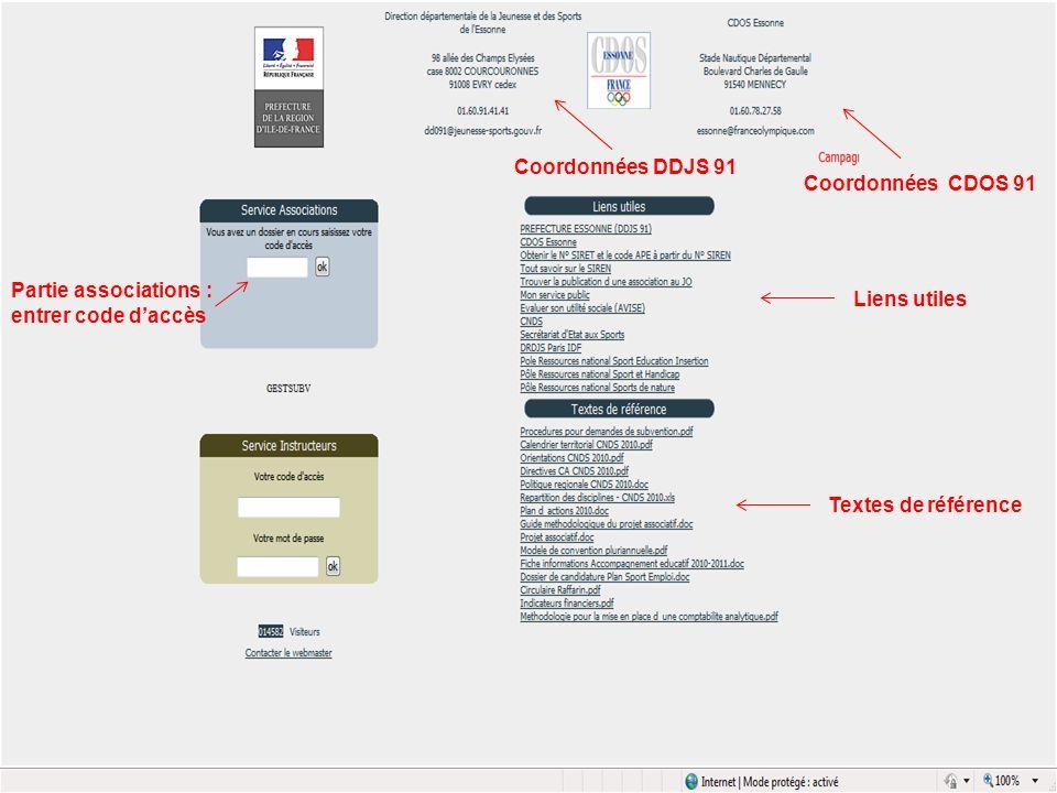 Coordonnées DDJS 91 Coordonnées CDOS 91 Liens utiles Textes de référence Partie associations : entrer code daccès