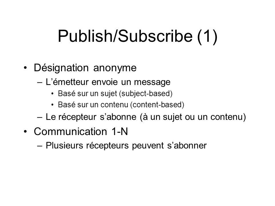 Publish/Subscribe (1) Désignation anonyme –Lémetteur envoie un message Basé sur un sujet (subject-based) Basé sur un contenu (content-based) –Le récep