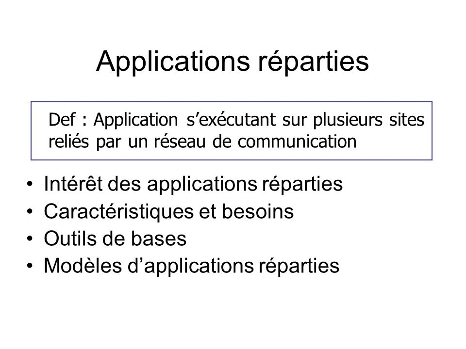 Applications réparties Intérêt des applications réparties Caractéristiques et besoins Outils de bases Modèles dapplications réparties Def : Applicatio