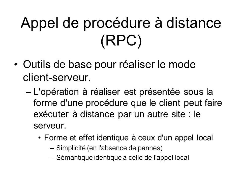 Appel de procédure à distance (RPC) Outils de base pour réaliser le mode client-serveur. –L'opération à réaliser est présentée sous la forme d'une pro