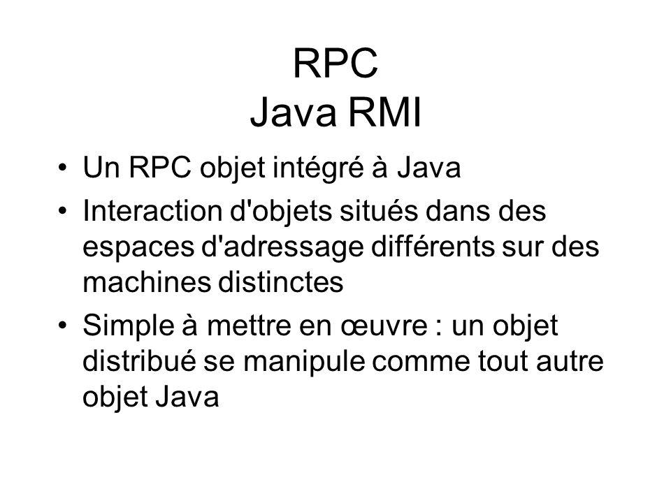 RPC Java RMI Un RPC objet intégré à Java Interaction d'objets situés dans des espaces d'adressage différents sur des machines distinctes Simple à mett
