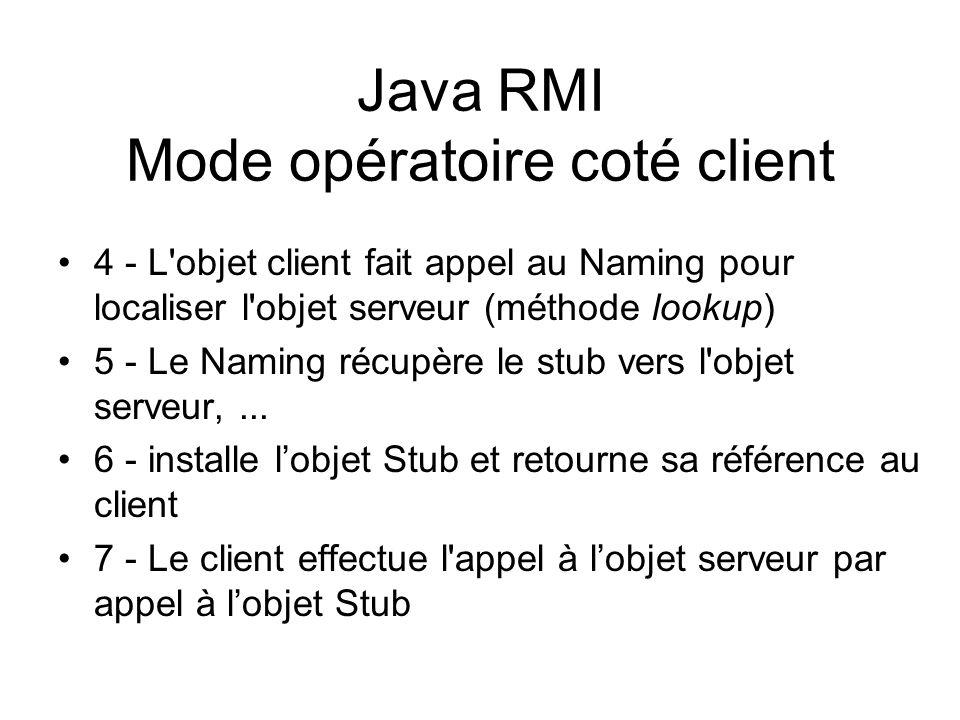 Java RMI Mode opératoire coté client 4 - L'objet client fait appel au Naming pour localiser l'objet serveur (méthode lookup) 5 - Le Naming récupère le