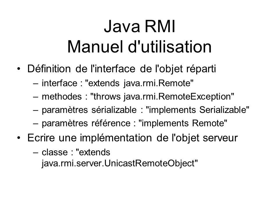 Java RMI Manuel d'utilisation Définition de l'interface de l'objet réparti –interface :