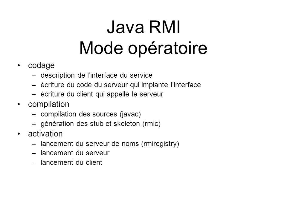 Java RMI Mode opératoire codage –description de linterface du service –écriture du code du serveur qui implante linterface –écriture du client qui app