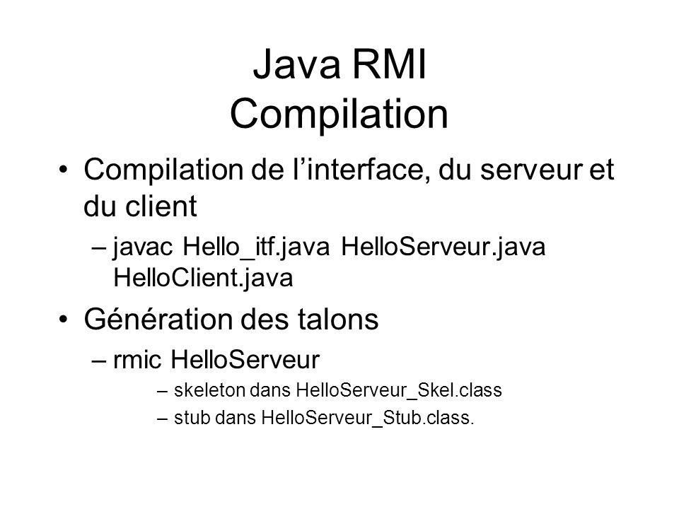 Java RMI Compilation Compilation de linterface, du serveur et du client –javac Hello_itf.java HelloServeur.java HelloClient.java Génération des talons