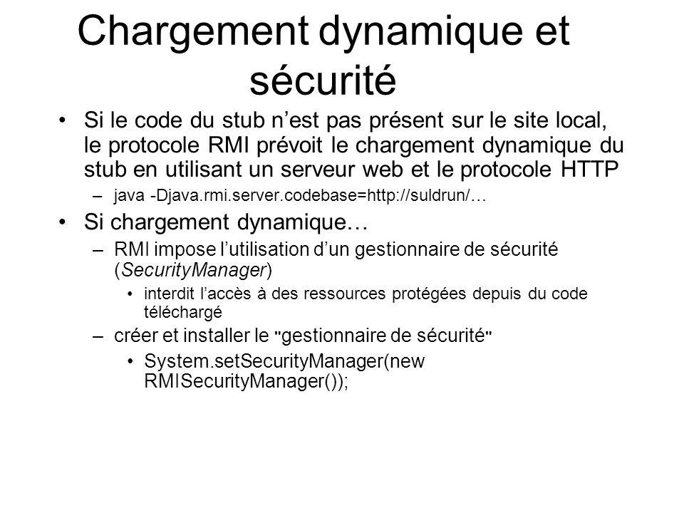 Chargement dynamique et sécurité Si le code du stub nest pas présent sur le site local, le protocole RMI prévoit le chargement dynamique du stub en ut