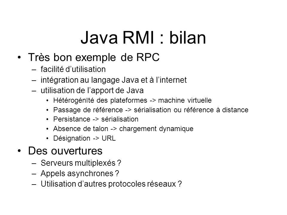 Java RMI : bilan Très bon exemple de RPC –facilité dutilisation –intégration au langage Java et à linternet –utilisation de lapport de Java Hétérogénï