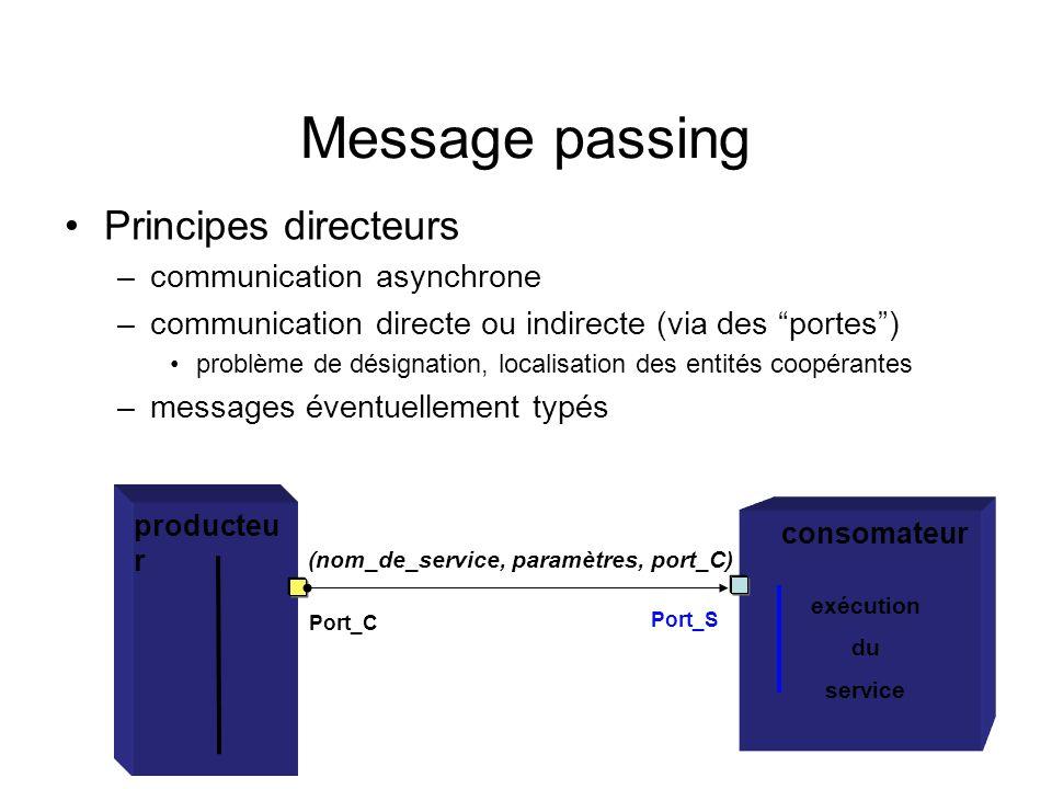 Message passing Principes directeurs –communication asynchrone –communication directe ou indirecte (via des portes) problème de désignation, localisat