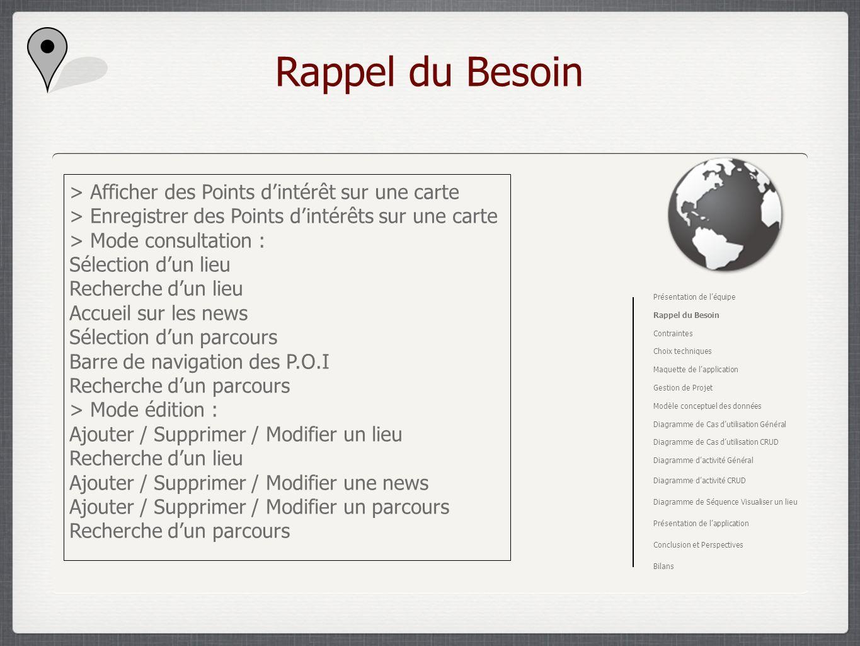 Rappel du Besoin > Afficher des Points dintérêt sur une carte > Enregistrer des Points dintérêts sur une carte > Mode consultation : Sélection dun lie