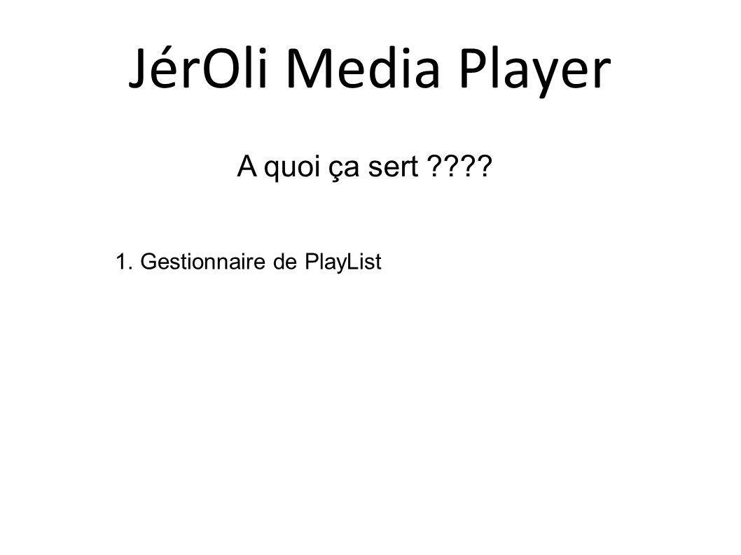 A quoi ça sert ???? 1.Gestionnaire de PlayList JérOli Media Player