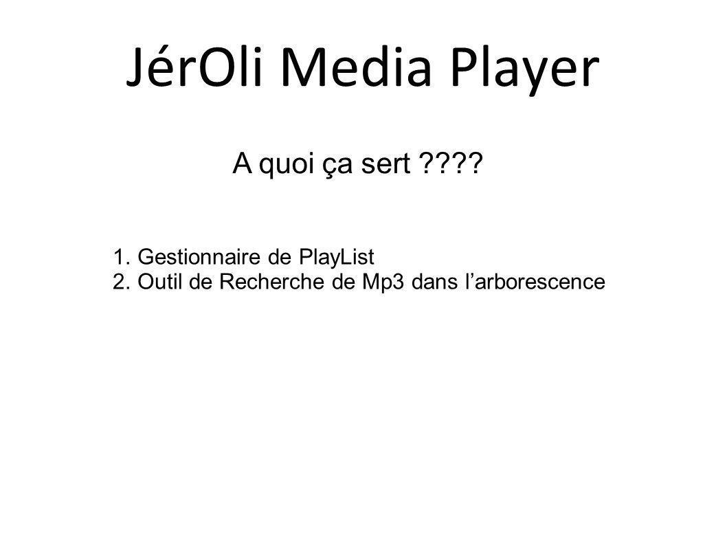 A quoi ça sert ???? 1.Gestionnaire de PlayList 2.Outil de Recherche de Mp3 dans larborescence JérOli Media Player