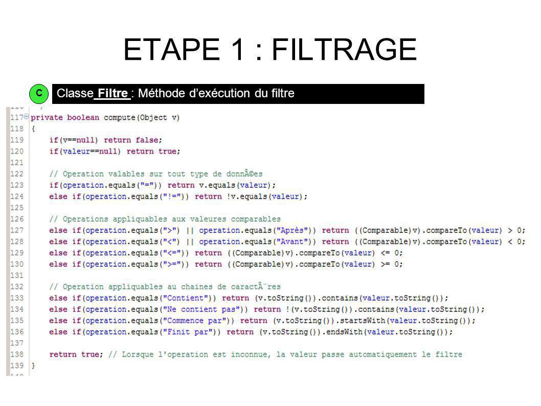 ETAPE 1 : FILTRAGE Classe Filtre : Méthode dexécution du filtre C