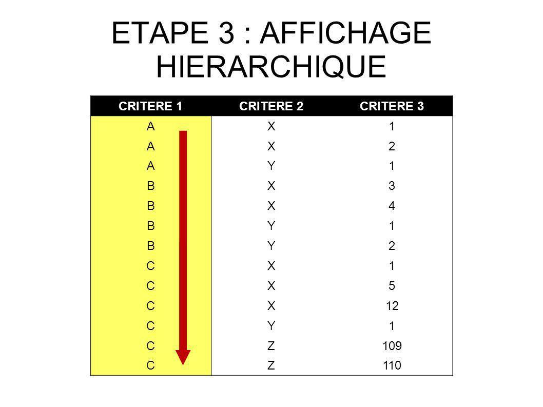 ETAPE 3 : AFFICHAGE HIERARCHIQUE CRITERE 1CRITERE 2CRITERE 3 AX1 AX2 AY1 BX3 BX4 BY1 BY2 CX1 CX5 CX12 CY1 CZ109 CZ110
